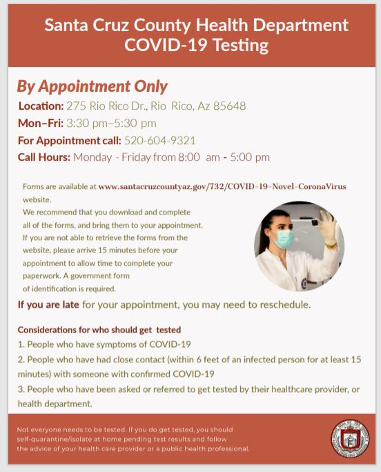 RT @santacruzaz: Testing available Monday thru Friday.  Please call for an appointment.