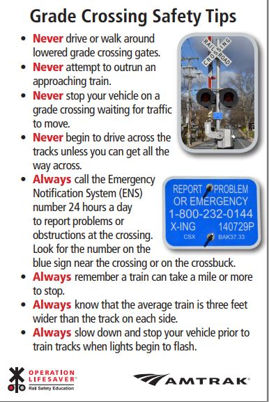 EPD joins North American rail-safety operation aimed at reducing preventable deaths and injuries on rail lines. Please look over the provided booklet that outlines how to be safe in negotiating railroad safety.