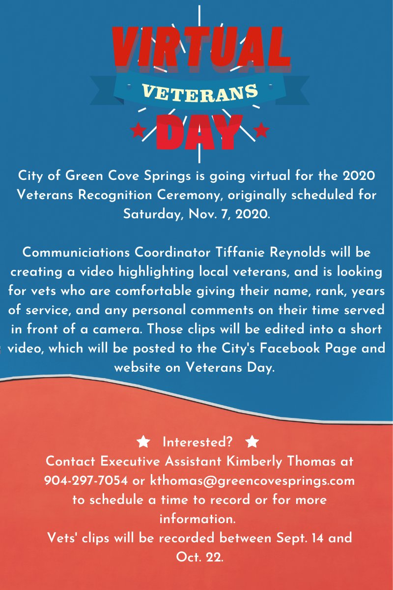 There are still time slots available for local veterans to be a part of our Virtual Veterans Day video! Those interested can contact Executive Assistant Kimberly Thomas at 904-297-7054 or kthomas@greencovesprings.com!