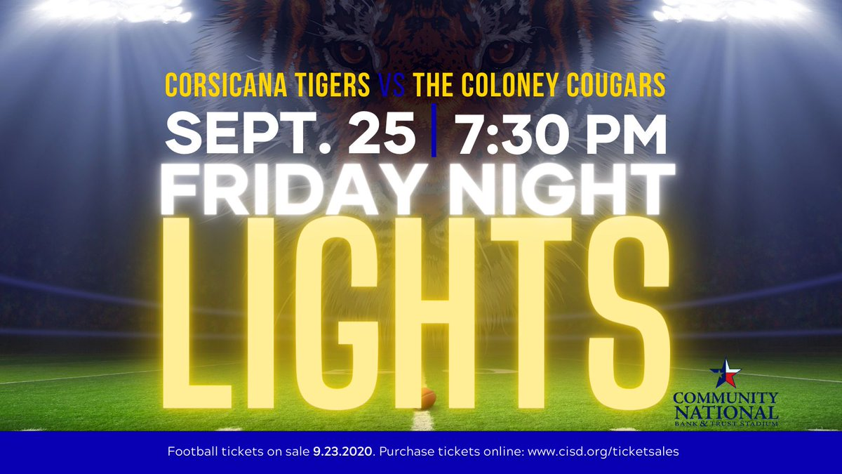 CISD Football will play the first home game on Friday! Tickets go on sale tomorrow and must be purchased online due to capacity restrictions. There will be no ticket sales at the gate. Social distancing will be practiced. Facemasks required. #CorsicanaISD