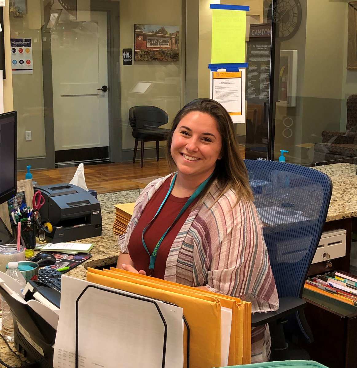 Our #TeamworkTuesday salute goes to Christine Davis (2019), a clerk in our Municipal Court.  Christine has been with the City for a year and brings a smile to work each day. #coolestsmalltowninamerica #cantonga