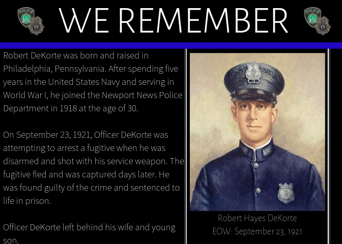 It's been 99 years since Officer DeKorte was killed in the line of duty, but we'll never forget his service and sacrifice.
