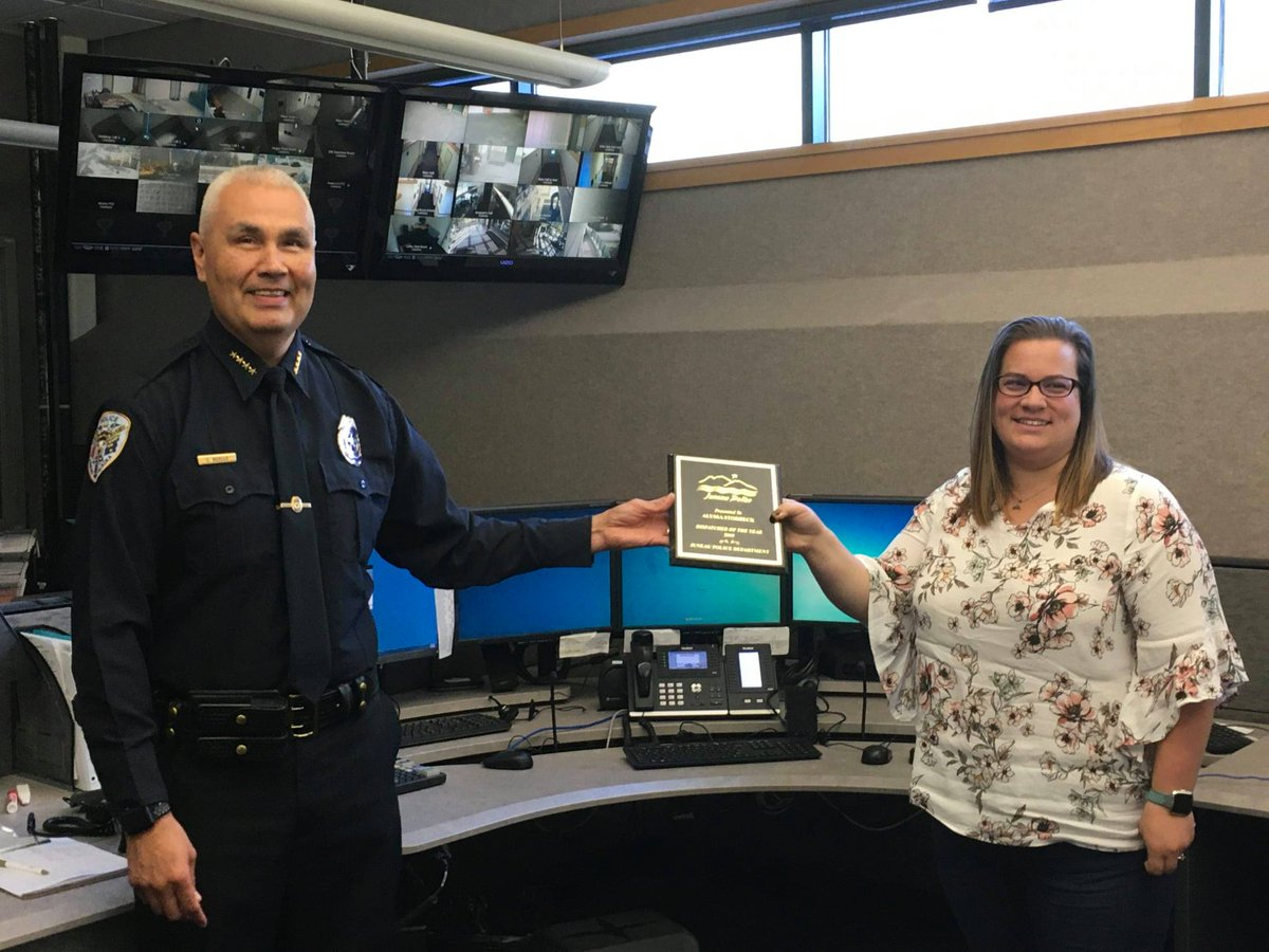 Last week, @JuneauPD Chief Ed Mercer gave out awards to individuals who exemplify JPD's values.  Congrats to:  Civilian of the Year Ana Corcoran  Dispatcher of the Year Alyssa Storbeck  Officer of the Year Aron Landry  Leader of the Year Sgt Chris Gifford