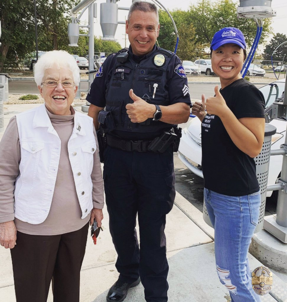 "#ShoutOut to Sgt.Tim Riha & our friend Pat! (that's her on the left) ""I wanted to say a special thank you to these two lovely people!My car died at the car wash today,and both of them jumped at the chance to help me out."" THIS is what #Community & #Teamwork are all about! #BEKIND"