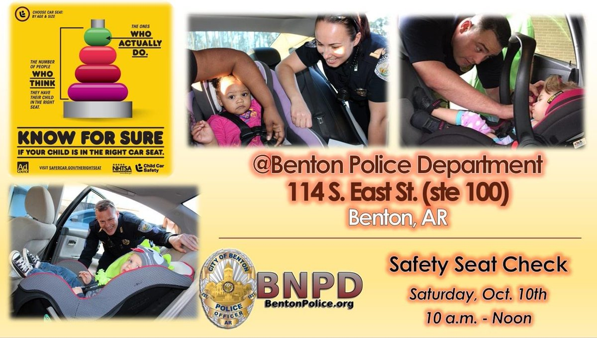 BNPD will resume monthly car seat checks in OCTOBER (Sat., Oct. 10 from 10 a.m.-noon)!  Our certified car seat techs will be available to inspect your child's car seat for proper installation, size & expiration. Call 501-776-5948 w/ questions.  #BNPD #ChildPassengerSafetyWeek