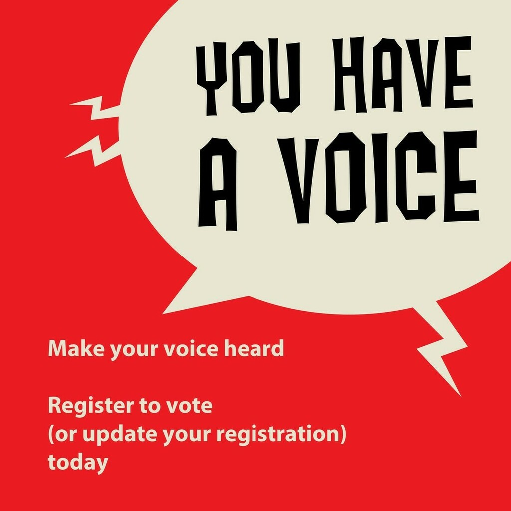 Make your voice heard. Register to vote (or update your registration) today.  #VoteSafe #VoteByMail #RegisteredandReady #VoteReady ✅