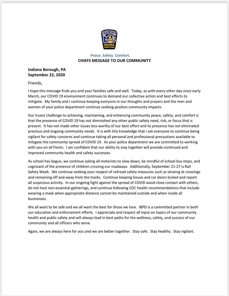A letter to the community from Indiana Borough Chief of Police Justin Schawl.  Sep 21-27 is Rail Safety Week 🚂 🚔 🚌
