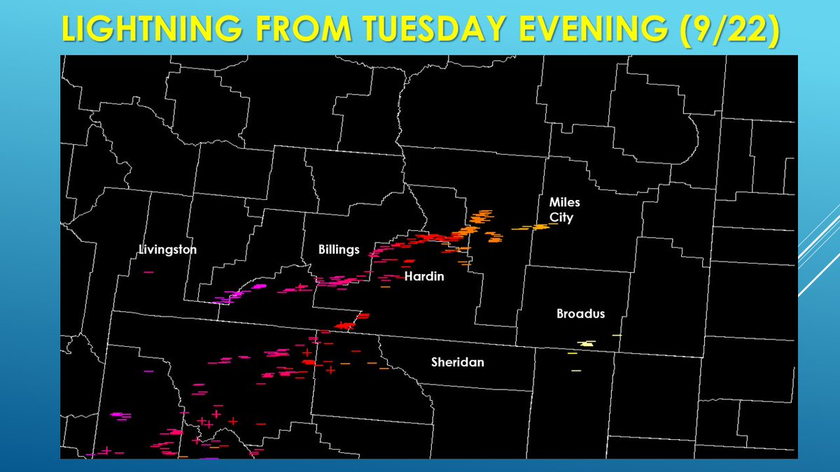 [9/23 240am] We had some #Lightning move through the area last evening, unfortunately we didn't get rain to go with it. Keep an eye out for fires started by this lightning activity over the next few days. #MTwx #WYwx #wildfires