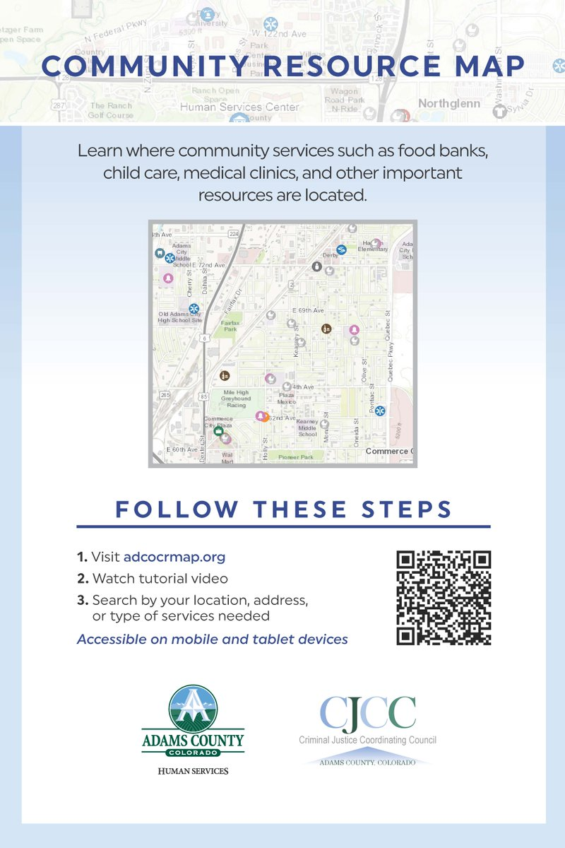 Did you know there's a community resource map available for all residents? It lists resources such as healthcare, food banks childcare, and so much more. Visit  and search by location, address, or type of services needed.