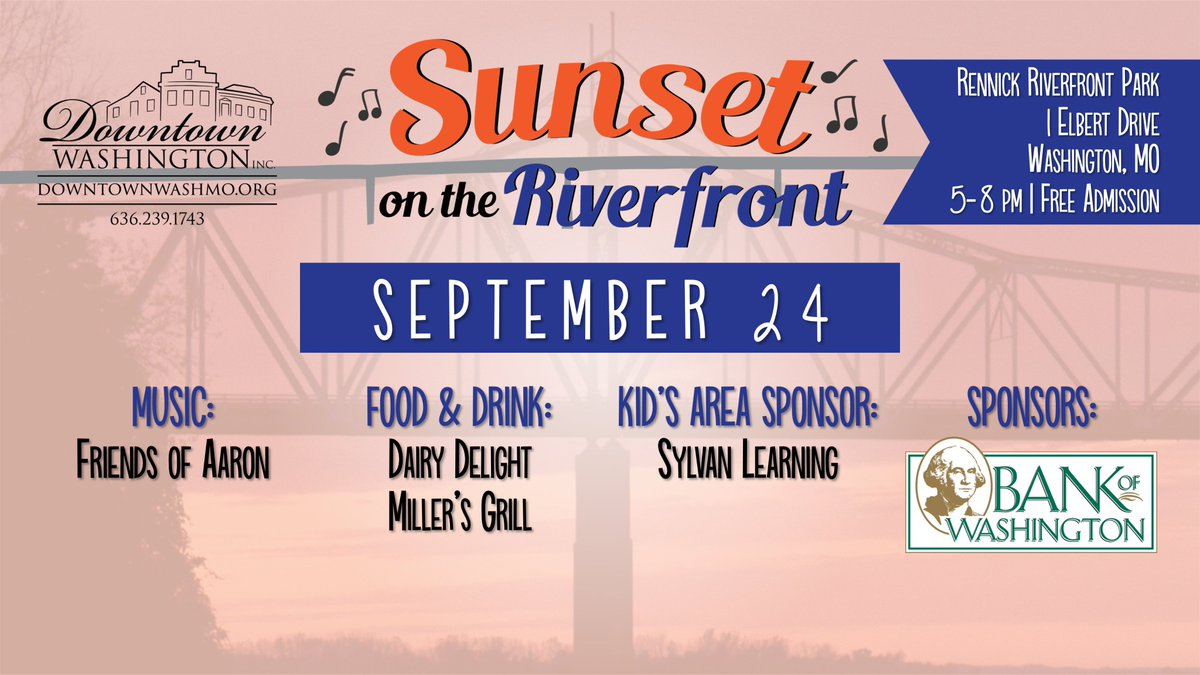 Sunset on the Riverfront is THURSDAY! Check out our awesome line up for this week's event.  Thank you @bankofwash for sponsoring Sunset on the Riverfront in #downtownwashmo