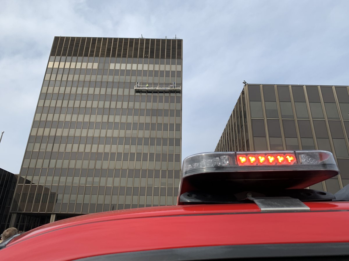 NFD Technical Rescue Team on scene at a high-angle rescue at State Farm Headquarters.   Workers are safe; harnessed.  Scaffolding has malfunctioned and won't move up or down.   Workers are approximately 200 feet up on the east side of the main building.  #BloNo