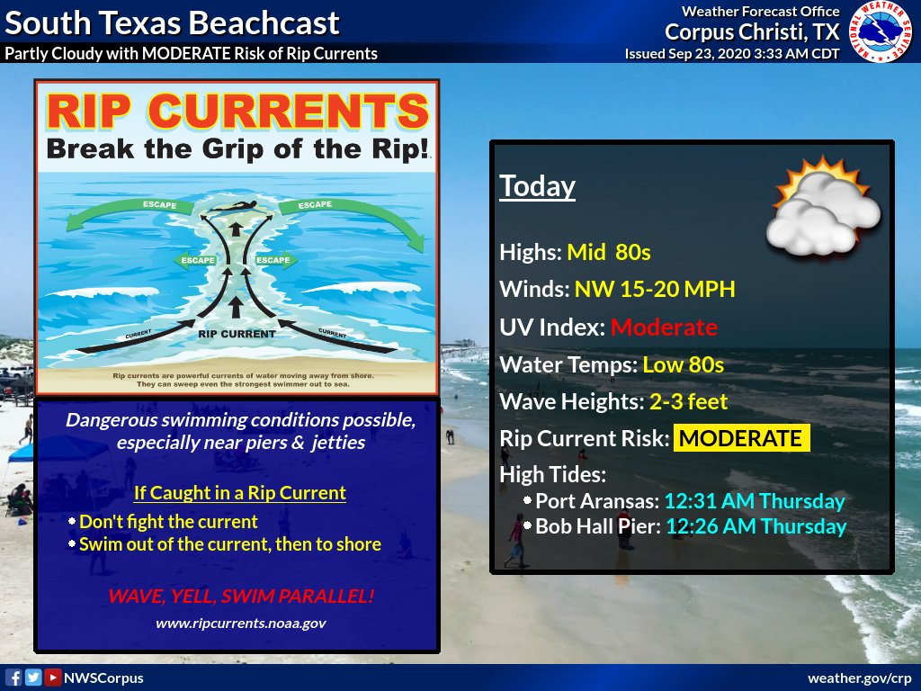 Heading out to the beach today? Be aware of the Coastal Flood Advisory in effect as well as the moderate risk for rip currents! #txwx #stxwx