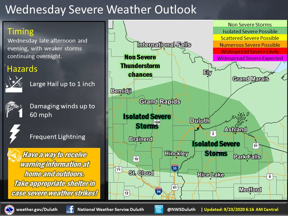 The warmer weather will bring isolated severe thunderstorms to the area this evening and tonight. Primary hazards include large hail up to one inch and damaging winds upwards of 60 mph. The latest trends show storms beginning in north central MN and moving into NW WI overnight.