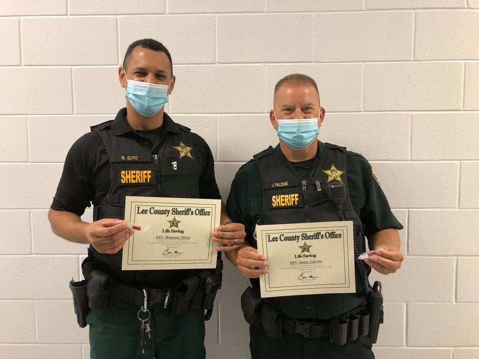 Deputies Ryan Dekeyser, Melquias Olivio, and James Falzone earned the Life Saving Award for taking turns performing CPR on an inmate who was not breathing and had no pulse. Thanks to their efforts, the inmate regained consciousness by the time EMS arrived.