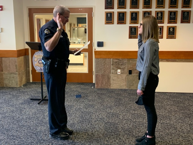 Please join us in congratulating our newest Animal Services Officer, Hannah Miller, who was sworn in this morning by Chief Creager. Hannah is a Broomfield native, and a graduate of @BroomfieldHigh! Welcome to the team! We are lucky to have you! @broomfield #WeAreBroomfield