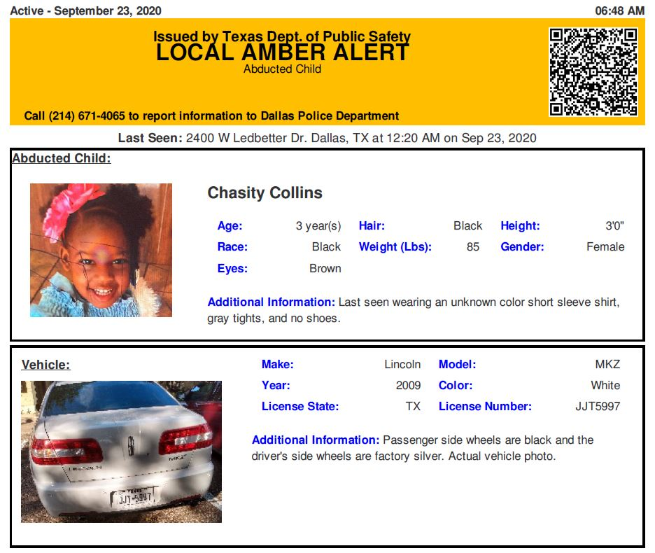 RT @TX_Alerts: ACTIVE AMBER ALERT for Chasity Collins from Dallas, TX, on 09/23/2020, Texas plate JJT5997