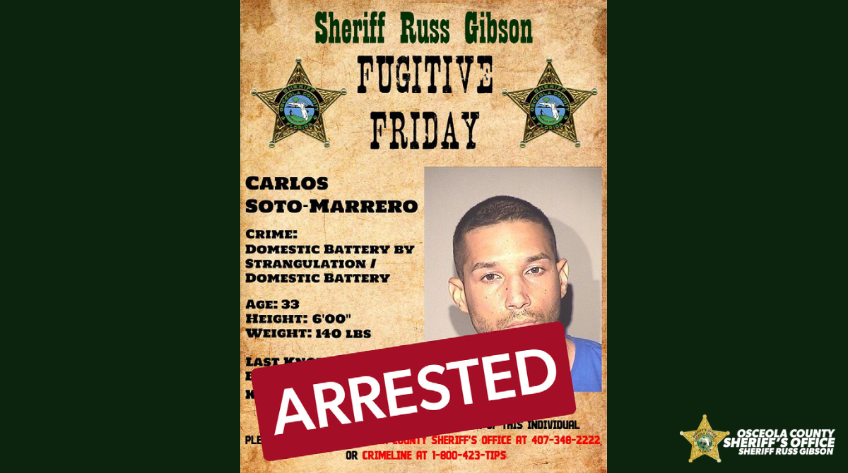Another arrest and case solved due to the great partnership between your sheriff's office, our community, and our Law Enforcement Partners. Carlos Soto-Marrero turned himself in this morning at the Osceola County Jail. He was originally posted last Friday on 09/18/20.