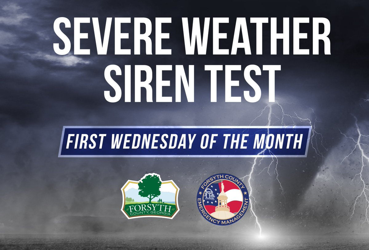 Did you know that Forsyth County EMA conducts severe weather siren tests at noon every first Wednesday of the month? The siren tests help residents recognize what they would hear in the event of a real tornado warning. For more info on siren tests:
