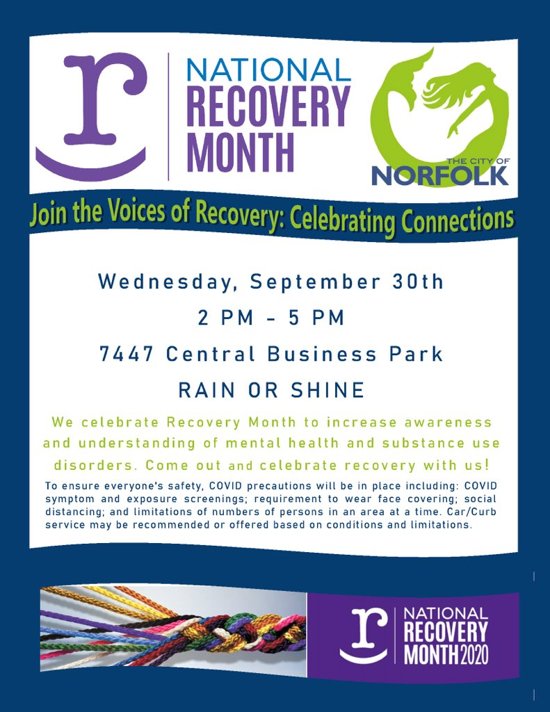 September is #NationalRecoveryMonth and there are so many victories to celebrate here in our own community. Join us next Wednesday as we acknowledge those recovering from mental health & substance abuse disorders. Check out the details below & join the celebration!