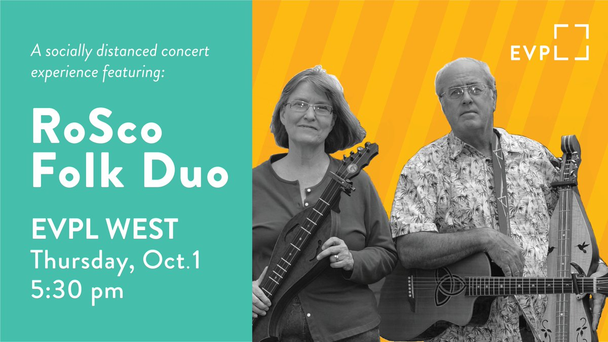 We're hosting a socially distanced concert experience on the lawn of EVPL West on Oct. 1 at 5:30 pm. More info: