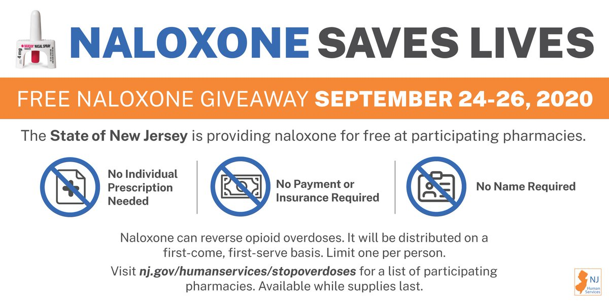 September 24-26: @NJDHS is giving away free naloxone kits (opioid overdose reversal drug) at participating pharmacies. 🔸Anonymous 🔸No prescription/appointment needed 🔸Union County locations:  🔸UCPO's OHH recovery hotline is 24/7/365: 📞1-855-825-3275