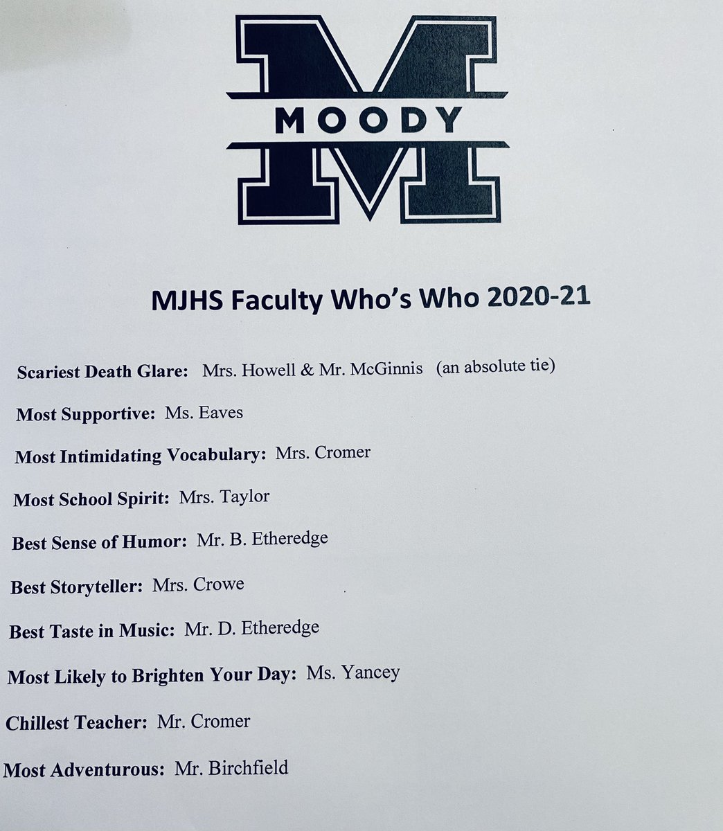 RT @MoodyJrHigh: MJHS students wanted a faculty who's who this year.... 💙Ⓜ️💙 #MJHSstrong @stclairsuper @sccboe