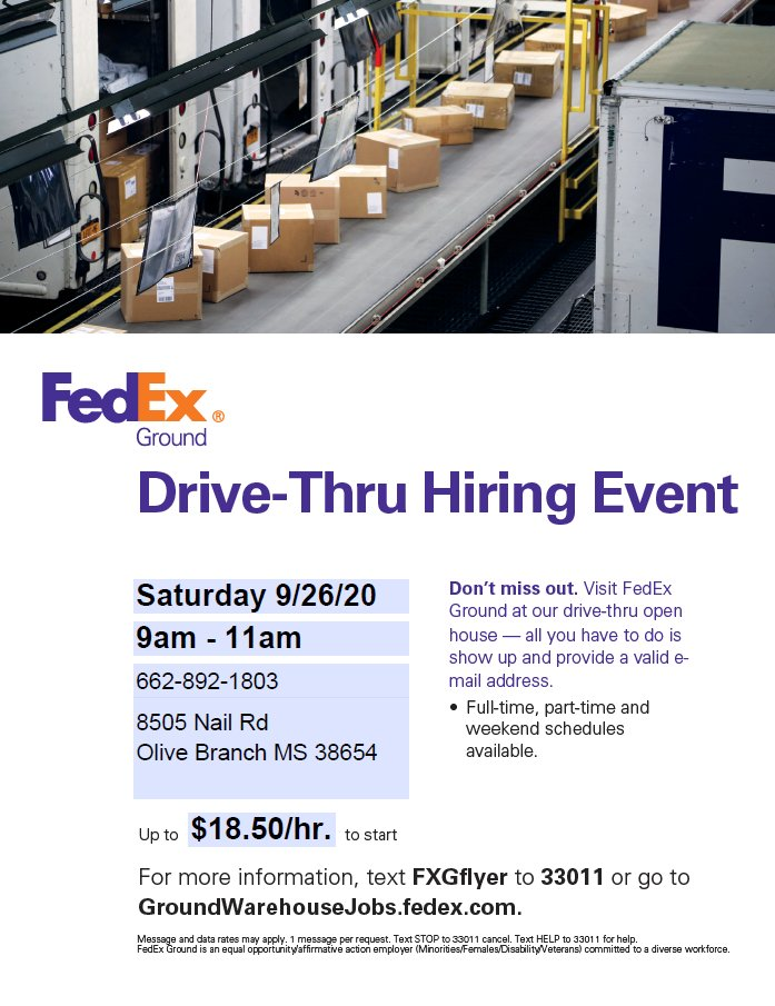 "FedEx Ground is hosting a ""Drive-Thru"" Hiring Event this weekend Sat 9/26."
