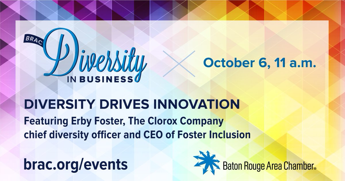 BRAC is excited to open up registration for its fourth annual Diversity in Business event! This virtual presentation will feature The Clorox Company Chief Diversity Officer Erby Foster as he discusses how diversity drives innovation.  Read more & register:
