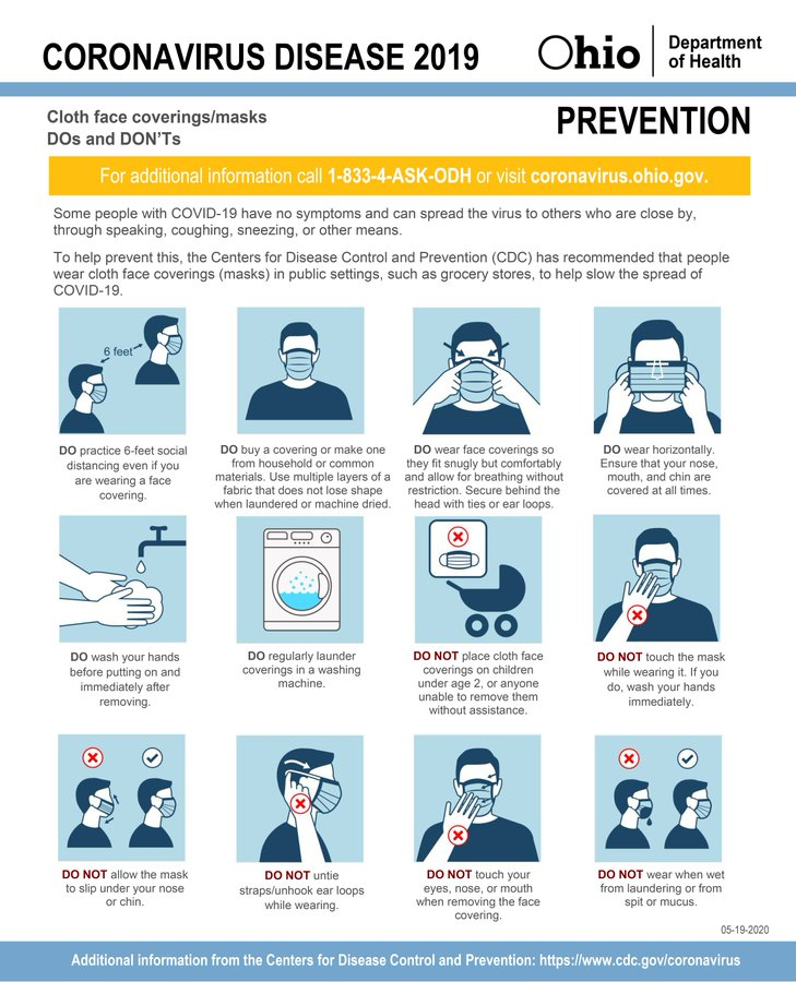 #COVID19 Face Coverings: Dos and Don'ts.  #InThisTogetherOhio #ResponsibleRestartOhio