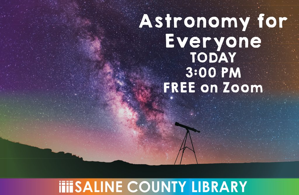 Any star gazers out there? Want to hear from a former NASA consultant about his discoveries?  Join us for a FREE zoom  hands-on conversation with Kevin Manning. Log-in with this link:  Meeting ID: 833 0359 3258 Passcode: 390587