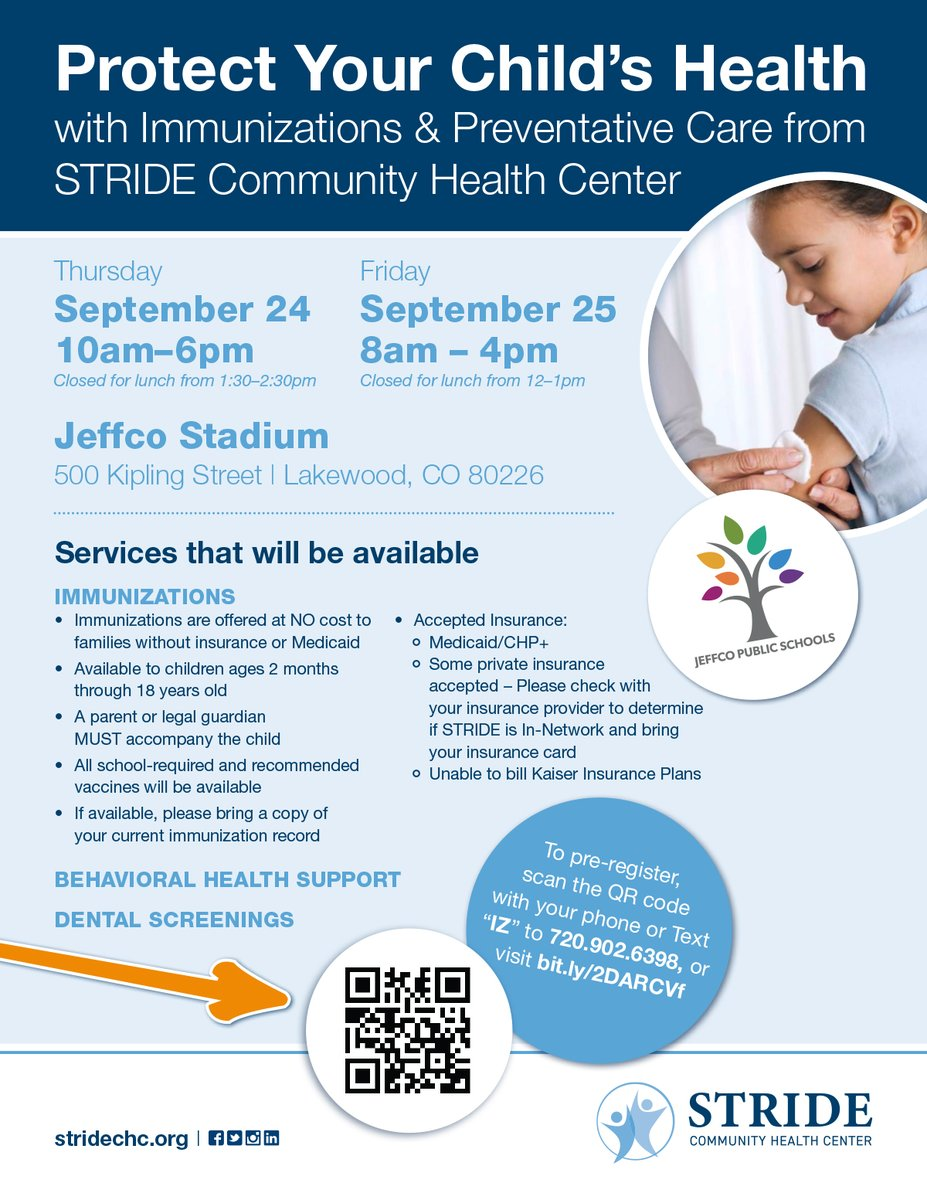 Take advantage of these services from STRIDE Community Health Center, THIS week at Jeffco Stadium!