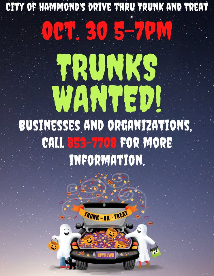 Calling all businesses and organizations! The City of Hammond is looking for vendors for their Trunk & Treat event on Friday, Oct. 30th. If you'd like to promote yourself & pass out candy call Donna at (219) 853-7708 to secure your spot. It's FREE! #Halloween #Halloween2020