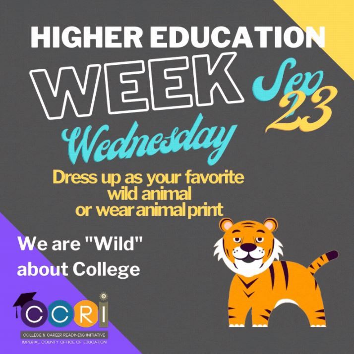 We are WILD about college! Today, students and educators are dressing as their favorite wild animal or wearing a fun animal print gear. We encourage our students to explore the wild adventure of higher education! #HigherEducationWeek2020