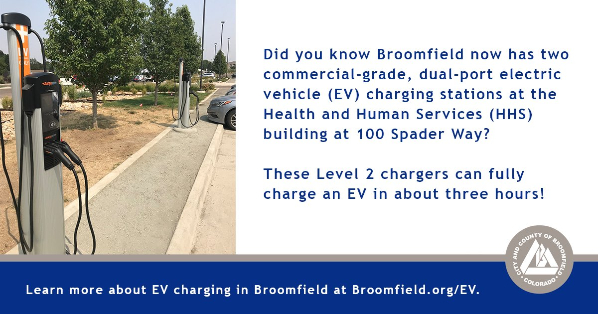 Did you know Broomfield now has 2 commercial-grade, dual-port electric vehicle charging stations at the HHS building? These Level 2 chargers can fully charge an EV in about three hours!   Learn more about EV charging in Broomfield at