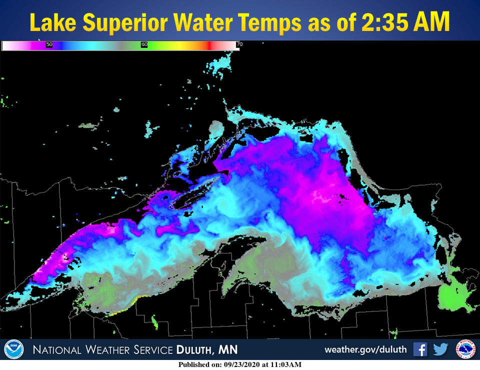 Actual Lake Superior water temps from satellite as of 2:35 AM CDT. #wiwx #mnwx