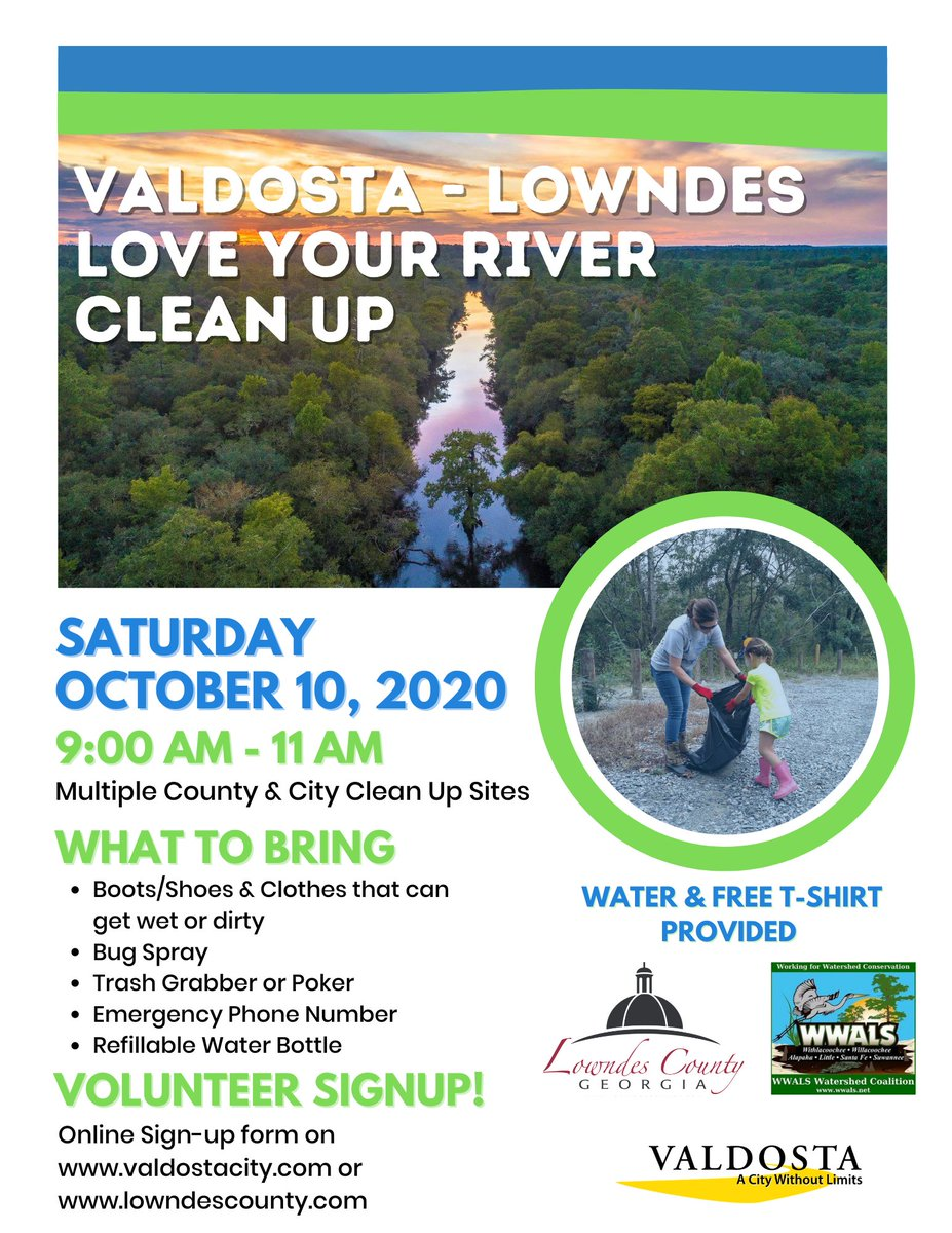 """The City of Valdosta, in a joint effort with Lowndes County and WWALS Watershed Coalition, Inc. (WWALS), is hosting the annual """"Love Your River' clean-up event on Saturday, October 10, 2020, from 9 am until 11 am.  Volunteering for the event can be completed digitally."""