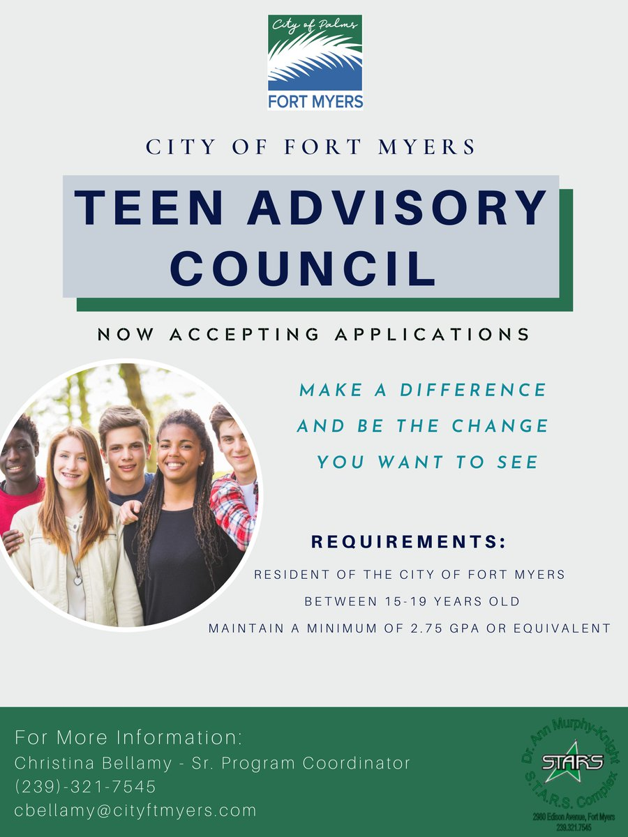 The City of Fort Myers is now taking applications for our Teen Advisory Council! For more information, call 239-321-7545.