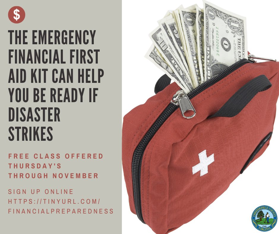 There's still room for this Thursday's Financial First Aid Kit training. We've talked about creating a first aid kit and an emergency plan, now it's time to talk a financial plan for a natural disaster.  To sign up for a class, visit: