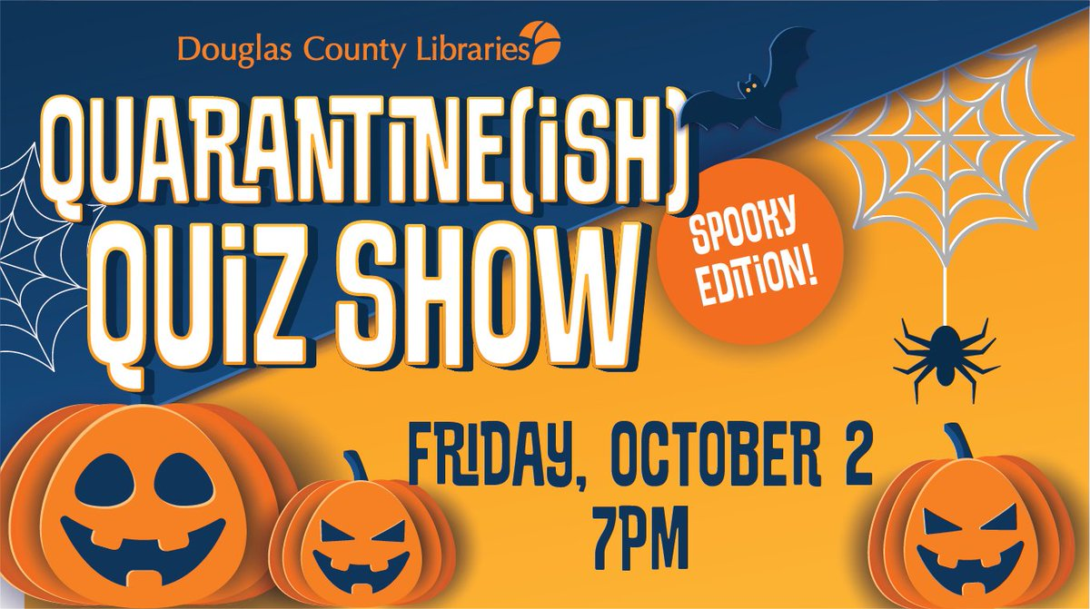Quarantine(ish) Quiz Show is back! 🎃We're celebrating the spookiest time of year with a festive fall theme this episode ~ it's an evening of virtual tricks and treats that will be fun for the whole family! Friday, October 2 @ 7PM   📙🕷