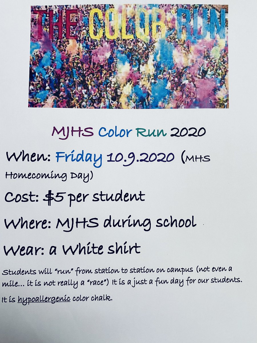 RT @MoodyJrHigh: MJHS Color Run! Enjoy the fun and pass the word. @stclairsuper @sccboe