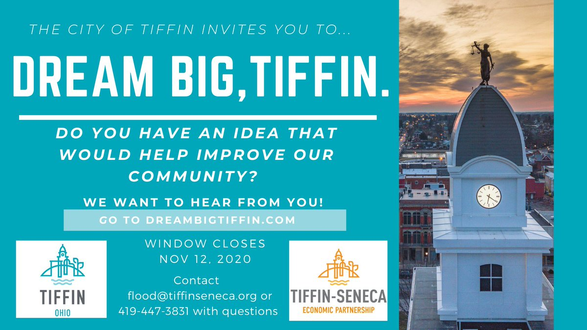TSEP, in partnership with @TiffinOhioGov, is asking you to DREAM BIG and submit your ideas for improving our community!  Read more at .