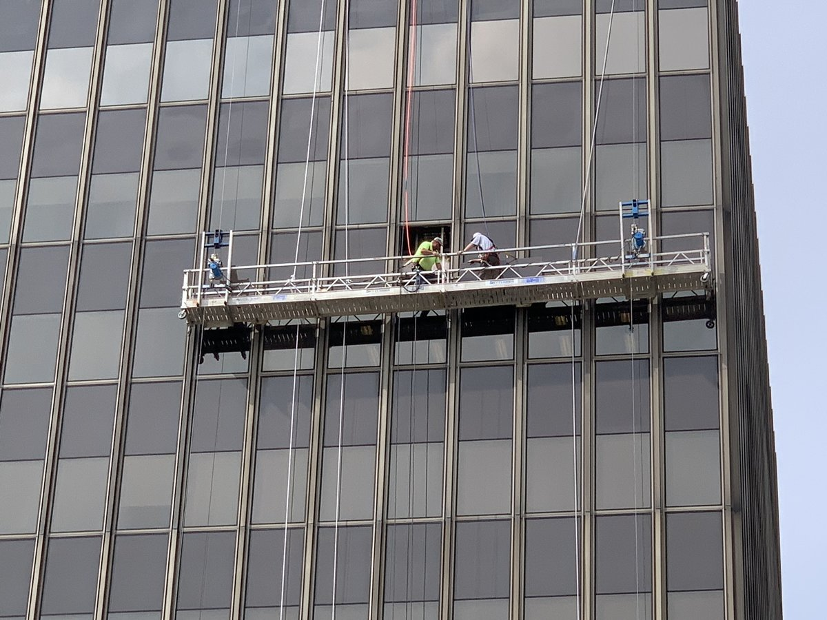 UPDATE - 1 State Farm Plz - NFD Technical Rescue Team personnel have successfully rescued the two workers that were trapped on malfunctioning scaffolding.   They are safely inside the building at this time.  #BloNo