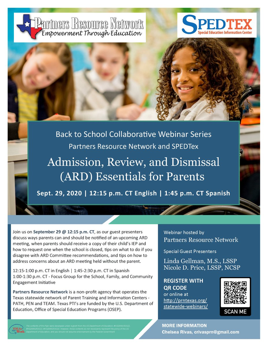 For parents/guardians of special education students: webinar on Admission, Review, and Dismissal (ARD) Essentials for Parents - Tues., Sept. 29 with English webinar at 12:15pm and Spanish webinar at 1:45pm. Register: