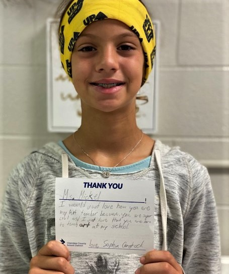#thanksCCSD gives students the opportunity to share how a teacher or other staff member has made a positive difference in their life! Here's one from Little River ES fifth-grader Sophia Comstock to teacher Emily Mickel.    #thanksCCSD  #CCSDfam  #CCSDunited