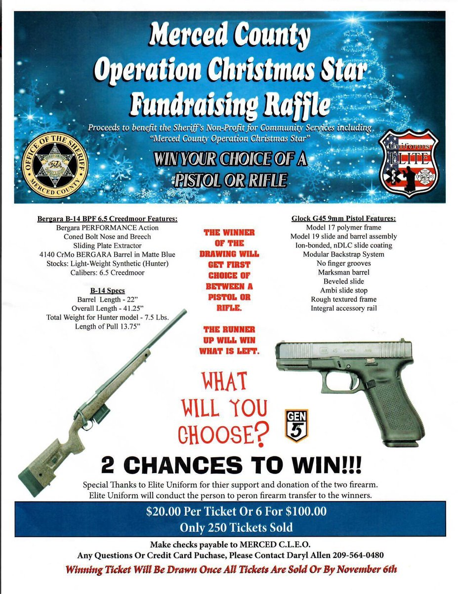 COME BUY A RAFFLE TICKET TO WIN A GEN 5 GLOCK OR  Rifle