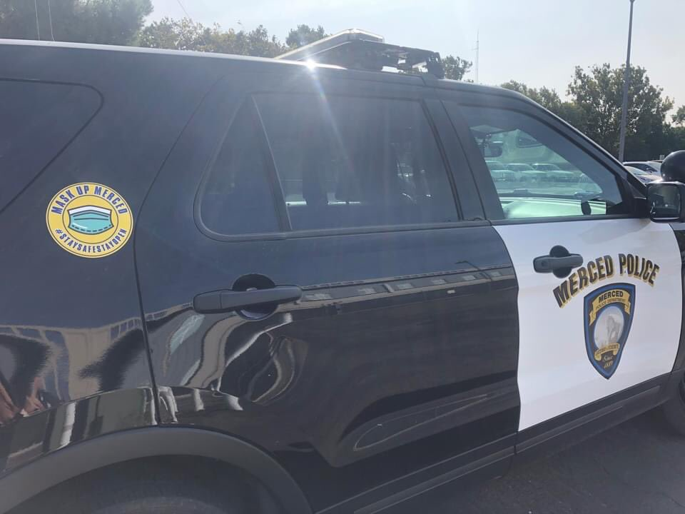 MASK UP MERCED  You might notice that cool new logo has been added to all Merced PD patrol cars, MASK UP MERCED #STAYSAFESTAYOPEN, check it out next time you see one of our cars around town an make sure to #maskupmerced