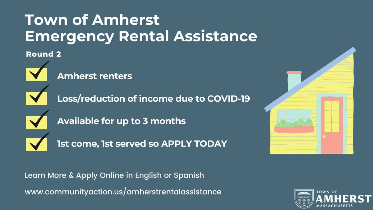 We have opened up a 2nd round of emergency rental assistance for eligible #AmherstMA renters experiencing income loss due to COVID-19. Program is 1st come, 1st serve so learn more & apply online today: