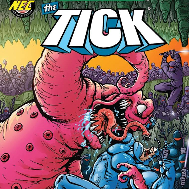 Our Free Comic Book Day is Sat., Sept. 26 (while supplies last)! Here is one of the comics that will be available that day:  The Tick by Jeff McClelland; Rating: All-Ages  This features an all-new story: The Tick is possessed by an alien parasite! SPOOOOOON!