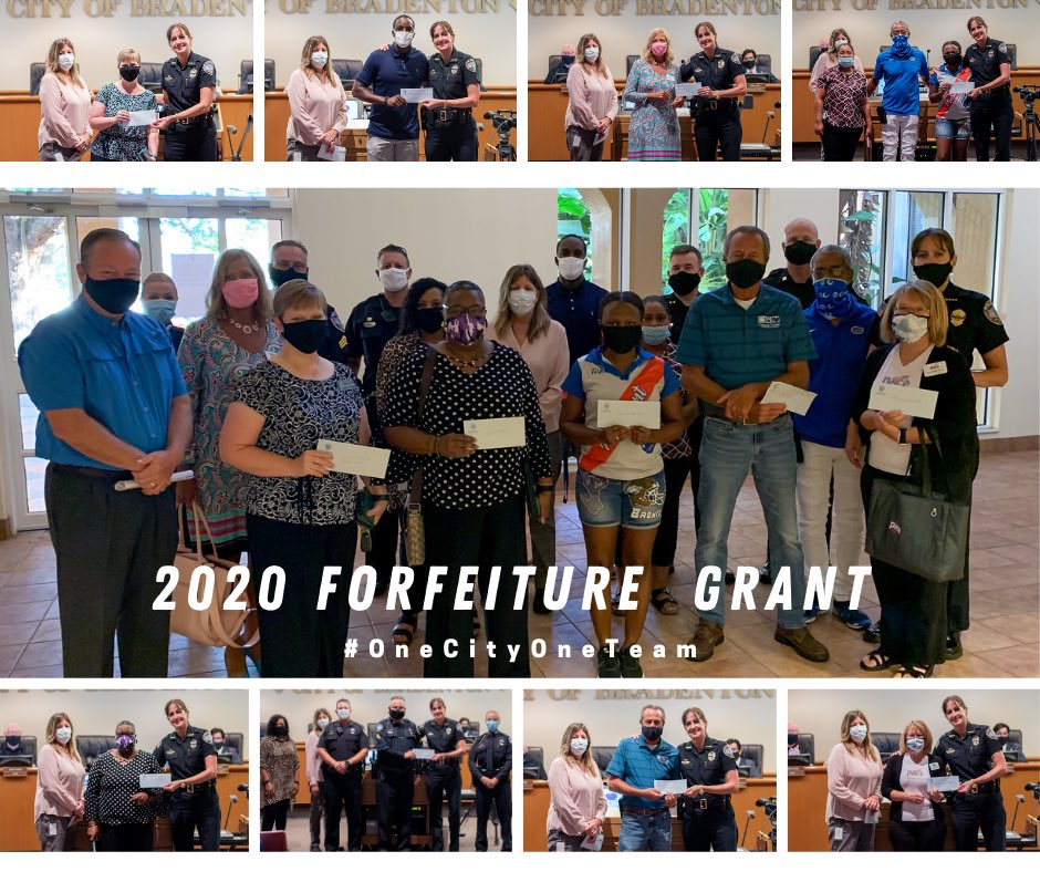 Today, at the Bradenton City Council Meeting, Chief Melanie Bevan awarded eight organizations funding from the Florida Contraband Forfeiture Fund Award Program.