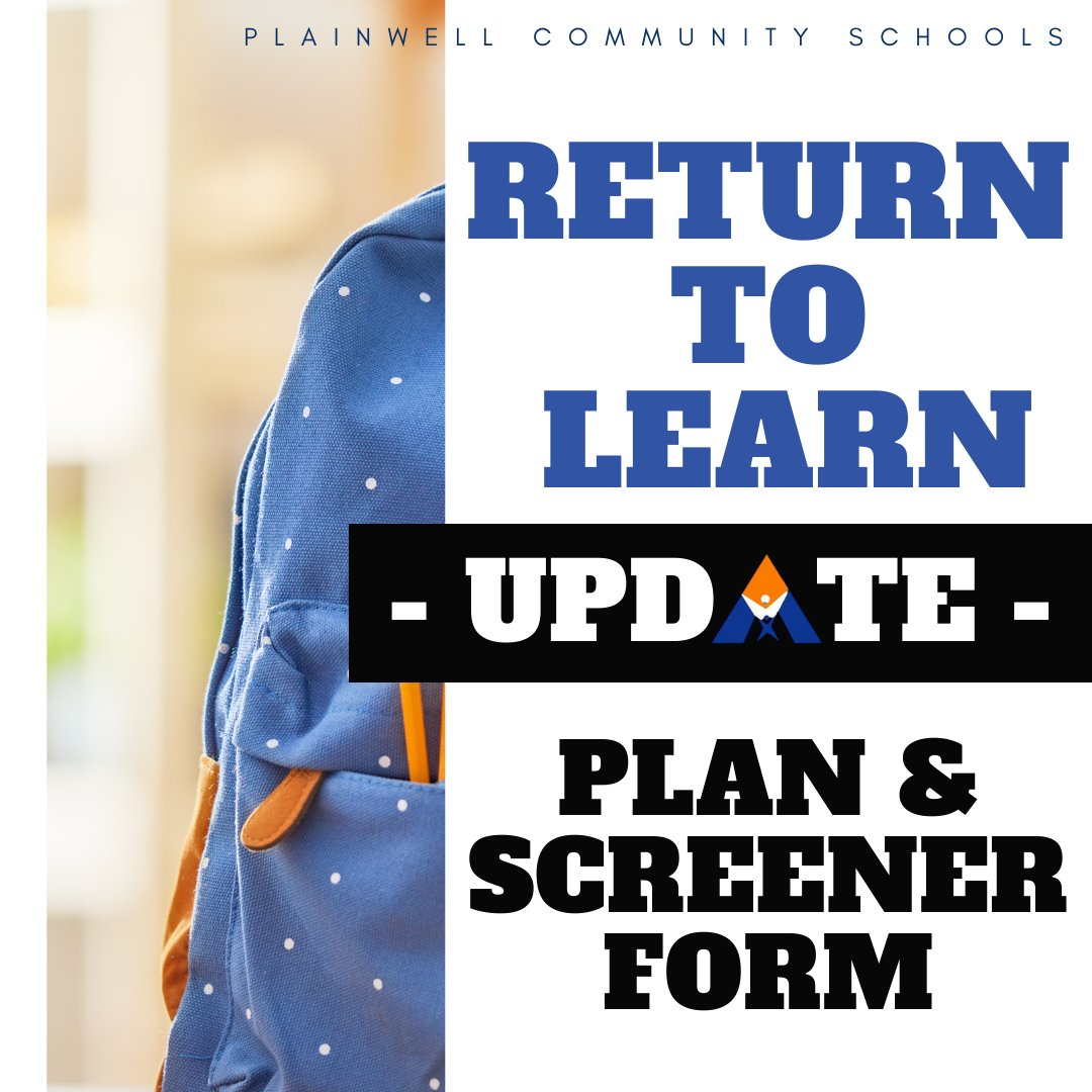 We are excited to welcome back the PCS students next week.  For plan information and a link to a required screening form, please visit:  .